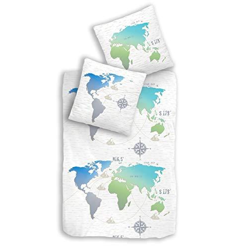 Weltkarte Bettwäsche Set blau türkis · Kissenbezug 80x80 + Bettbezug 135x200 cm · Weltenbummler - FERNWEH · Landkarte · 2 teilig · 100% Baumwolle Teenager-Bettwäsche