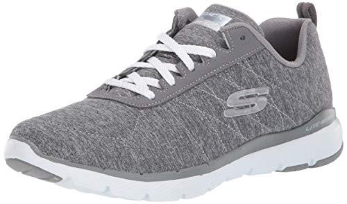 Skechers Flex Appeal 3.0-insiders, Zapatillas para Mujer, Gris (Gray Mesh/White Trim Gry), 2 EU