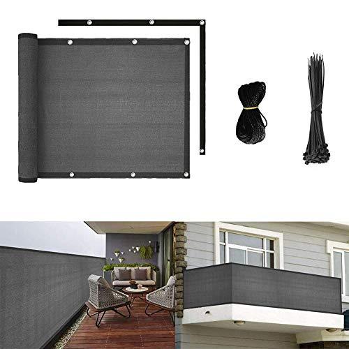 longdafei Balkon Sichtschutz UV-Schutz blickdichte wetterbeständige Balkonbespannung Balkonverkleidung mit Kabelbindern HDPE-Spezialgewebe 5 Meter (90x500cm) (Grau)