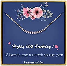 IEFLIFE 12th Birthday Gifts for Girls - Gem Stone Bar Necklace 12 Year Old Girls Gifts Best Friend Birthday Gifts Beaded Bar Necklace Birthday Gifts for 12 Year Old Girls Bat Mitzvah Gifts