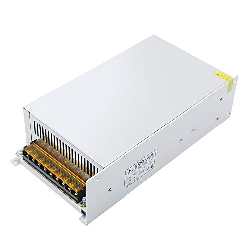 inShareplus 24V 20.85A 500W, DC Universal Regulated Switching Power Supply, 110/220V AC to DC 24 Volt LED Driver, Converter, Transformer for LED Strip Light, CCTV, Computer Project, 3D Printer