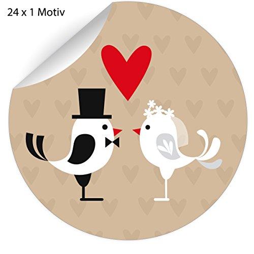 24 herzige Hochzeits Aufkleber mit Vögeln als Brautpaar mit Herz, beige, MATTE universal Papieraufkleber auch für Geschenke, Etiketten für Tischdeko, Pakete, Briefe und mehr (ø 45mm