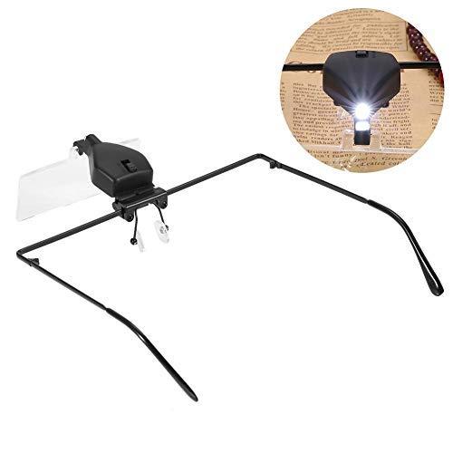 Lupenbrille mit LED, Kopfband LED Leuchtlupe (1,5X 2,5X 3,5X) zur Wimpernverlängerung, Brillenträger, Lesen, Handwerk, Juweliere, Nähen, und Reparatur