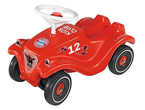 BIG Spielwarenfabrik Bobby Car-Classic FC Bayern München, rotes Rutschefahrzeug im Fußballdesign des FC Bayern München, Auto für Kinder ab 1 Jahr