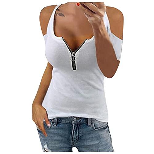 YANFANG Camisetas Mujer Puma Manga Corta, Camiseta De Corta con Cremallera Y Hombros Descubiertos para Mujer,La La del Hombro FríO Las Mujeres Remata Camisas Blusa,Blanco,S