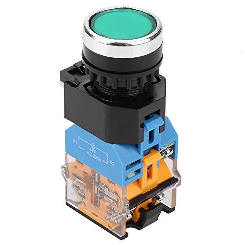 Broco Interruptor momentáneo, interruptor de botón momentáneo de metal Interruptor momentáneo de botón plano verde de 22 mm con luz LED 220V