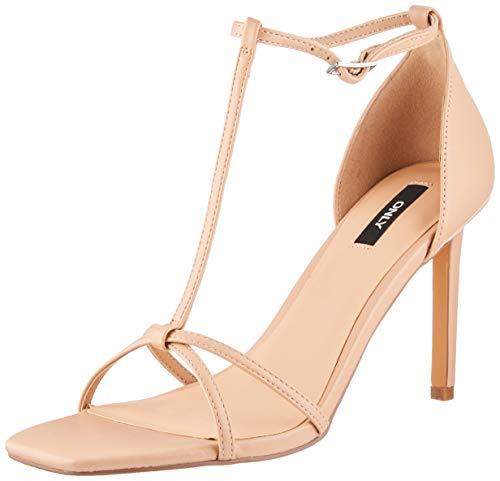 ONLY ONLALYX-5 PU T-Bar Heeled Sandal, Sandalia con taln Hombre, Color Carne, 39 EU