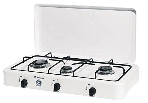 Orbegozo FO 3450 - Hornillo a gas, butano o propano, encendido piezoeléctrico, tres quemadores, uso exterior, 750 - 1800 W