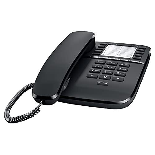 Gigaset DA510 - Schnurgebundenes Telefon mit praktischer Anrufanzeige - Kurzwahleinträge - großes Telefonbuch - Stummtaste mit Wartemelodie - Anrufsperre und Tastensperre, schwarz