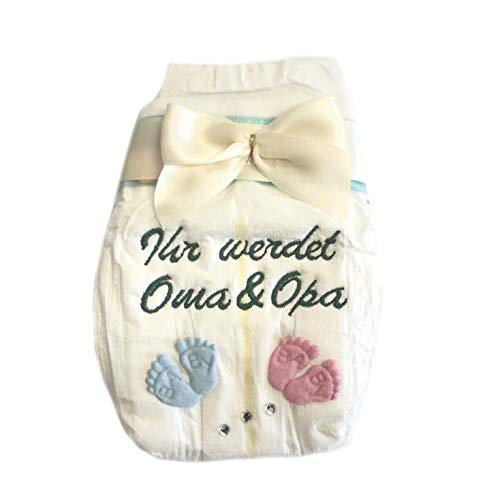Ihr werdet Oma und Opa - Geschenk zur Ankündigung - Tanjo White bestickte Windel Schleife Creme