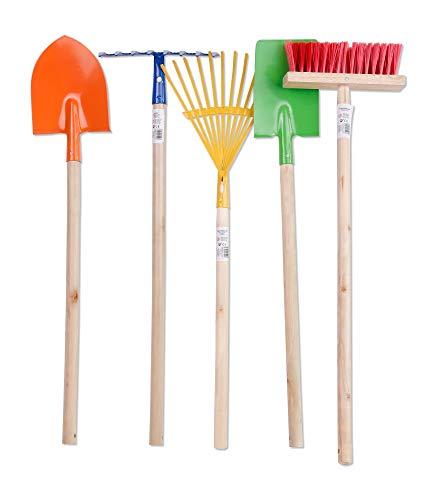 Kinder Gartengeräte Kindergartengeräte, Kinder Garten Geräte Werkzeuge Schaufel, Besen, Rechen, Laubbesen, Harke, Grubber, Spaten, Metall mit Holzstiel