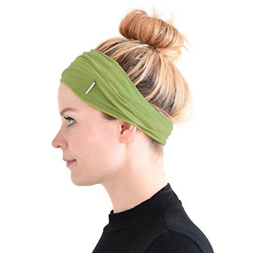 Casualbox Herren elastisch Bandana Stirnband Headband Japanisch lang Haar Dreads Kopf wickeln Hellgrün