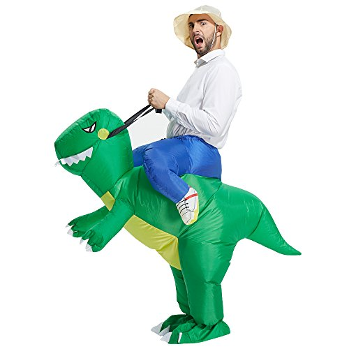 Price comparison product image TOLOCO Inflatable Dinosaur T-REX Costume / Inflatable Costumes for Adults / Halloween Costume / Blow Up Costume (Green Dinosaur Adult)