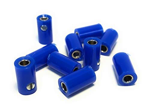 BELI-BECO 61/6 Kupplung für Querlochstecker - Miniatur-Bananenstecker mit Stift-Ø: 2,6mm - 10 Stück (Blau)