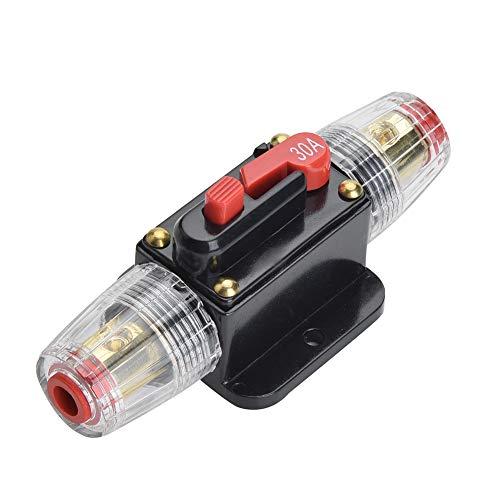 Qiorange 30A Automatische Sicherung Automatik Schalter 12V-24V DC Spritzwasserschutz für Auto Boot Motorrad (Fuse Holder 30A Type A)