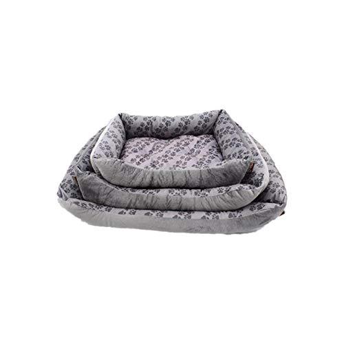 Cama para Perros de Felpa Suave y cálida Cama para Perros Cama para Dormir mullida sofá para Mascotas Perros pequeños y medianos de Varios tamaños -Huella_50 * 40 * 12