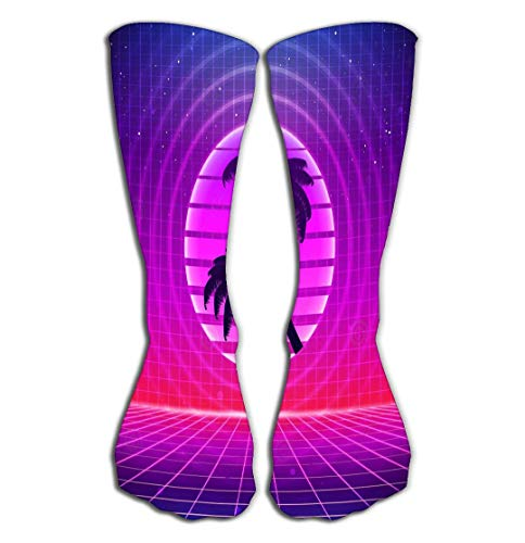 Outdoor-Sportsocken, Herren, Damen, hohe Socken, Retro-Stil, Sci-Fi-Hintergrund, Palmen, futuristischer Synth, Retro-Wellen, S-Poster-Stil, geeignet für jeden Druck, Fliesenlänge 50 cm