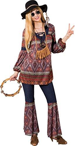 narrenkiste O9848-50-52 - Disfraz de hippie para mujer, tallas 50-52, multicolor
