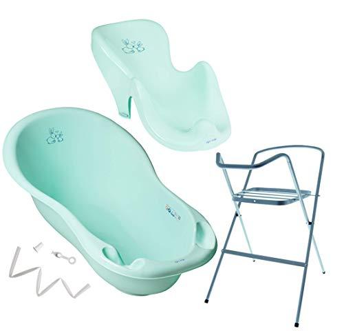 Tega Baby ® Baby Badewanne mit Gestell und Verschiedene Sets mit Babybadewannen + Ständer + Abfluss + Badewannensitz 0-12 Monate   ergonomisch Neugeborene, Motiv:Häschen - aquamarine, Set:4 Set