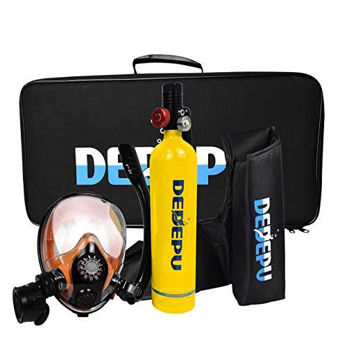 DEDEPU Tanque de buceo Mini cilindro de buceo con máscara de esnórquel S5000PLUS-Paquete B 1L Simple Respiración Equipo de Buceo Emergencia de Repuesto y Snorkeling Set para buceadores