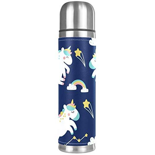 Lurnies Planeta Unicornio Botellas de Agua con Aislamiento al vacío Termo a Prueba de Fugas Bebidas Calientes inoxidables para Viajes de Negocios Escolares 500ml 26x6.7cm