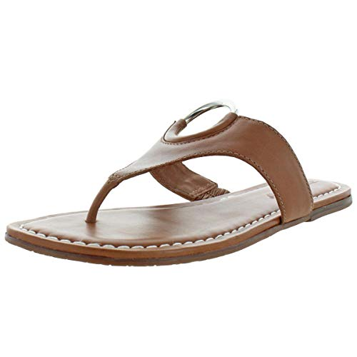 Bernardo Women's Mallory Antique Leather O-Ring T-Strap Sandals Brown Size 9.5
