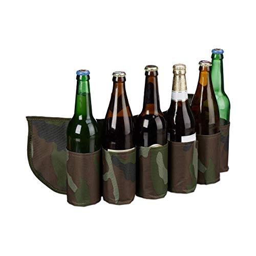 Relaxdays Biergürtel Sixpack, für 6 Dosen & Flaschen, 0,2-0,5 l, Bierhalter Gürtel Camouflage, verstellbar, grün/braun, H x B x T: ca. 16,5 x 61 x 0,5 cm