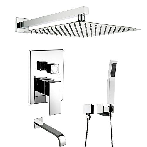 Artbath Shower System With Tub Spout,Tub Shower Faucet Set Wall Mounted for Bathroom Shower and Tub Faucets Fets Complete and High Pressure Rain Shower Head Set,Chrome