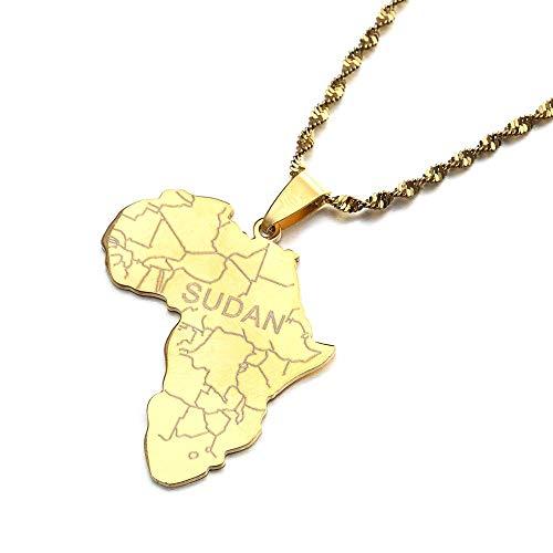 Kkoqmw Mapa de África de Acero Inoxidable con Collares Colgantes de Sudán para Mujeres Hombres mapas joyería