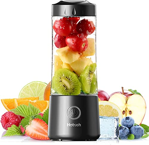 [2021 Newly Upgraded Version]Hotsch Portable Blender, 13.5 Oz Personal Blender for Shakes and Smoothies, Mini Blender with Six Blades, Handheld Blender USB Rechargeable for Sports, Travel, Gym and Outdoors(Black)