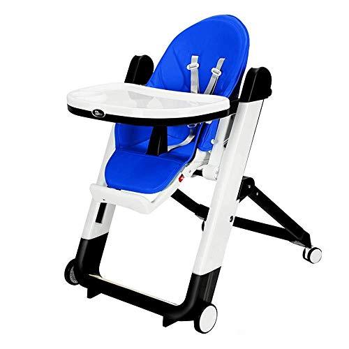 HYL Seggiolone Pappa Seggiolone for Bambini, seggiolino for Bambini, Sala da Pranzo Sedia da Tavolo, Pieghevole, Multifunzionale (Color : Blue)