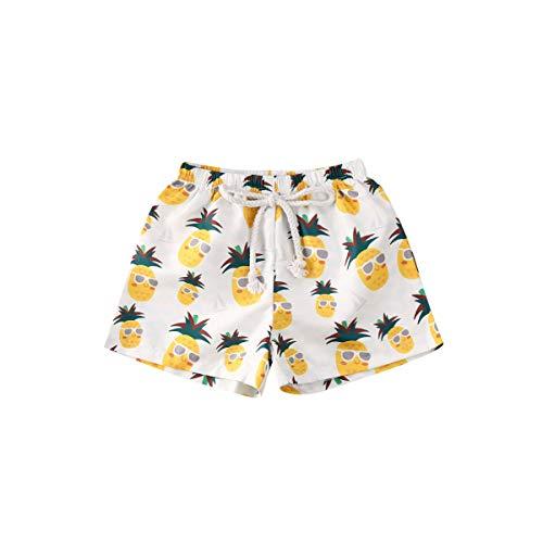 BriskyM Niño Bañador Natación Shorts de baño para niños Fruta de piña Impresión de Dibujos Animados de la Hoja Casual Board Shorts Trajes de baño Edad 0-4 años (Pineapple, 6-12Months)