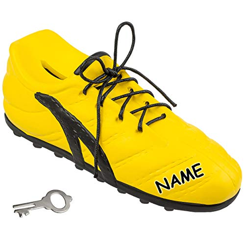 alles-meine.de GmbH 3D Effekt _ Spardose - Fußballschuh / Schuh - Sportschuh - gelb & schwarz - inkl. Name - mit Schlüssel und Schloss - mit echten Schnürsenkel ! - 23 cm - stabi..