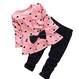LuckyGirl Fille Enfant Ensemble en 2 PCS T-Shirt Longues Manches + Pantalons Blouse Tee Blouse Motif...