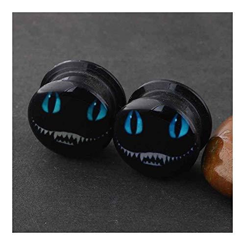 Oído Acrílico Medidores Enchufes Pendiente Expansores Que Estira La Joyería Kit De Perforación Del Cuerpo 2pcs Túneles De La Carne Durable ( Main Stone Color : 8MM , Metal color : Blue Zinc Plated )