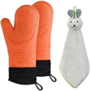 NA Heat Resistant932°F Silicone Oven Mitts and Towel Kitchen (3-Piece Set), Extra Long with Waterproof Oven mitt, Safe Cooking Oven Mitts, Non-Slip Textured Grip Soft Inner Lining
