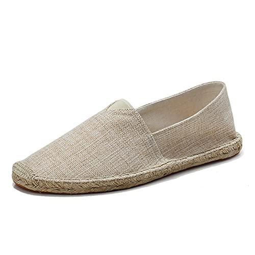 fereshte Women's Men's Casual Espadrilles Loafers Breathable Flats Shoes Khaki Label Size 43-265mm - US 11 Women/9.5 Men