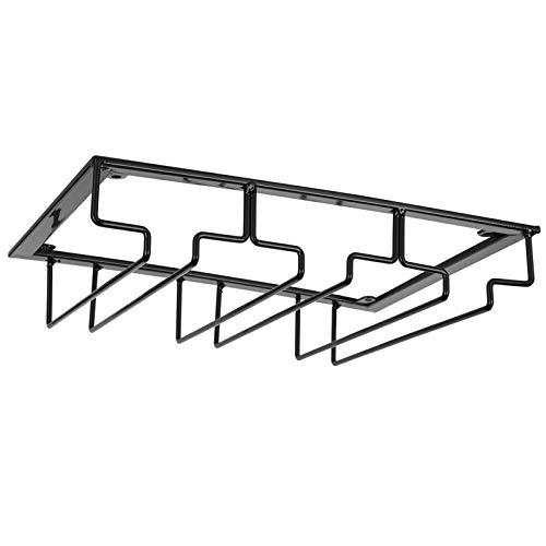 Instalación conveniente Estante de exhibición de vidrio Organizador de metal Estante de vidrio colgante Hierro para(3 slot length 30cm width 22.5cm black)
