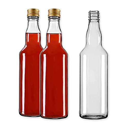 Glass Bottles 700 ml (0.7L) with Gold Screw Cap - for Filling it Yourself with Screw Cap Air-Tight (8 Bottles)