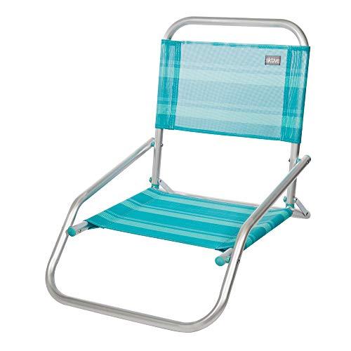 Aktive 53961 Silla plegable fija aluminio Beach, 66 x 47 x 54 cm Azul mediterráneo