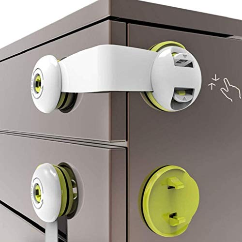 Child Safety Locks, 5Pack with Strong Adhesive Child Safety Cupboard Locks, Baby Cabinet Locks for Kitchen Cabinets, Drawers, Appliances, Closet, Kitchen, Fridge and Oven, Trash (Green)