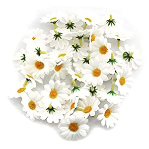 Silk Flower Arrangements Tegg Fabric Daisy Flower Head 100PCS 1.5Inch White Artificial Gerbera Fake Flowers Heads for Wedding Party and DIY Craft