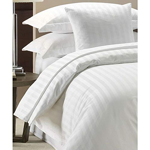 MIA we dress your home Hotel Quality Stylish Bedding 3 Piece Duvet Cover Sets Super King Size 300 TC Polycotton White Strip Duvet and Quilt Covers with Pillowcases
