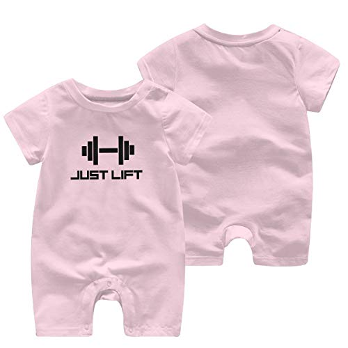 Huahai Niño Manga Corta Just Lift Gym Boys Girl Bodusuit Outdoor Baby Mono de manga Corta, color rosa, tamaño 2T