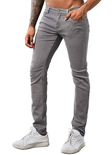 ZLZ Men's Skinny Slim Fit Stretch Comfy Fashion Denim Jeans Pants D-Grey