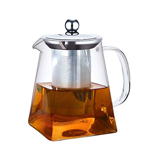 ANSIO Glass Teapot with Infuser 750 ml Borosilicate 304 Stainless Steel Lid, Clear Teapot Infuser with Heat Resistant and Loose Leaf Teapot Infuser