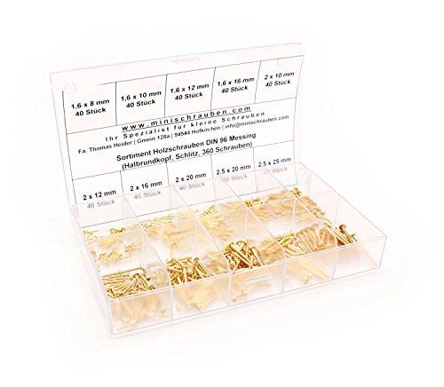 Sortimentskasten mit 360 Stück kleinen Holzschrauben nach DIN 96 aus Messing ab 1,6x8mm, Schlitz, Halbrundkopf. Minischrauben Sortiment inkl. beschrifteter Box