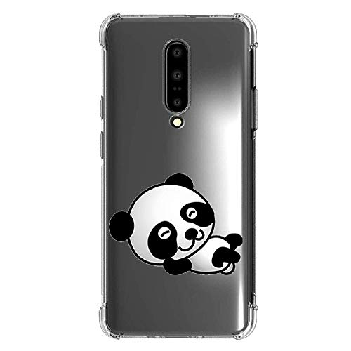 Compatible with oneplus 7 pro Case TPU - Screen Protective Shockproof Cover Anti-Slip Cute Animal Panda Pattern Design Clear Slim Soft TPU Bumper Girl Women Clear Case for oneplus 7 pro-15