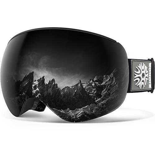 ZIONOR X4 PRO Ski- / Snowboard-Brille mit Magnet, doppelschichtige Linse, Anti-Beschlag-Schutz, UV-400, kugelförmiges Design, Anti-Rutsch-Gurt für Herren und Damen, Schwarzgraue Linse VLT 8%