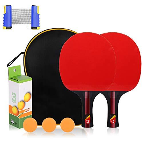 LHR Juego De Tenis De Mesa Retráctil, Juego De Raquetas De Tenis De Mesa Profesional Raqueta De Tenis De Mesa para Principiantes Rejilla Retráctil para Niños Adultos